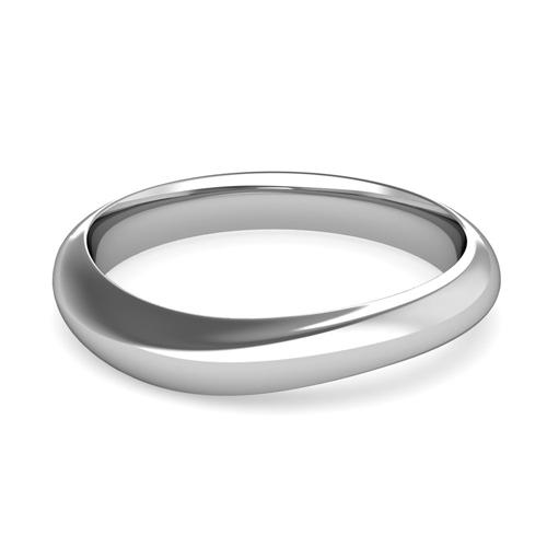 Curved Wedding Band In 18k Gold Mens Comfort Fit Ring 4mm