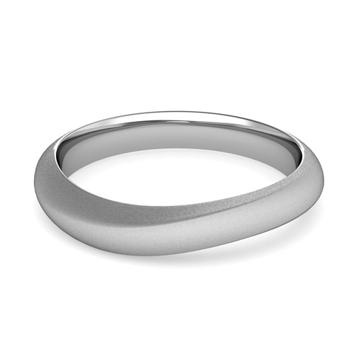 Curved Wedding Band In Platinum Mens Matte Finish Ring 4mm