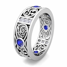 customize celtic wedding band ring for men with gemstones and diamonds - Mens Celtic Wedding Rings