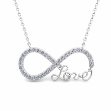 custom infinity diamond and gemstone love necklace in 14k 18k gold - Wedding Ring Necklace