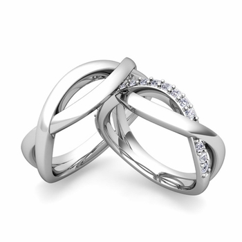 ... Infinity Wedding Ring Band for Him and Her with Diamonds and Gemstones