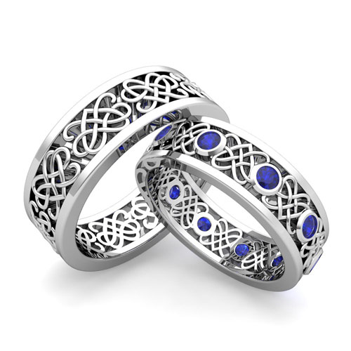 Build Celtic Heart Knot Wedding Band for Him and Her with Diamonds and ...