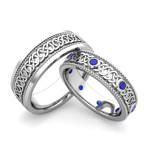Build Milgrain Celtic Wedding Band for Him and Her with Diamonds and ...