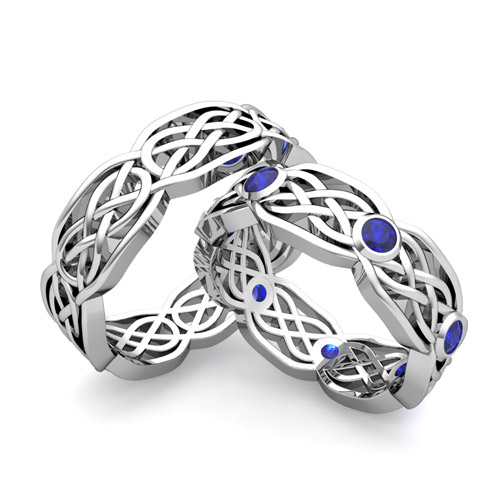 Build Endless Love Celtic Wedding Band for Him and Her with Diamonds ...