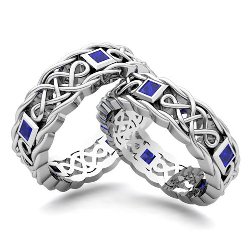Customize Celtic Knot Wedding Ring Band for Him and Her with Diamonds ...