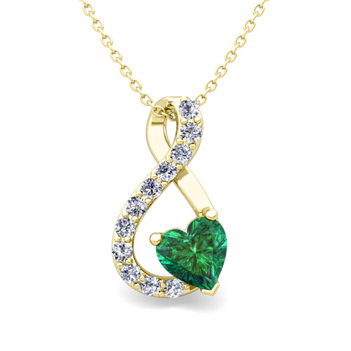 Diamond and emerald heart necklace in 18k gold infinity pendant aloadofball Images