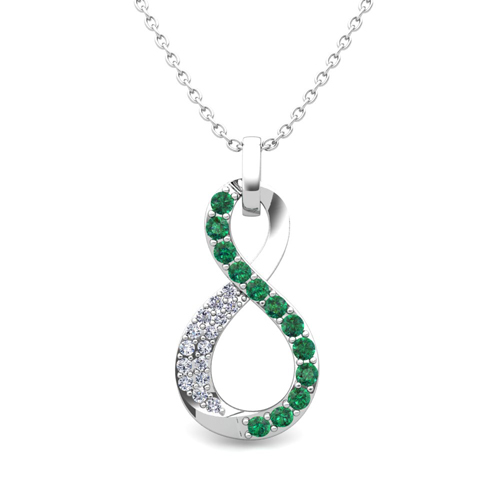 Diamond and emerald necklace in 14k gold infinity pendant mozeypictures Choice Image