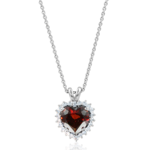 Garnet and diamond heart pendant 18k white gold necklace 8x8mm order now ships on tuesday 313order now ships in 5 business days diamond and garnet heart necklace mozeypictures Choice Image