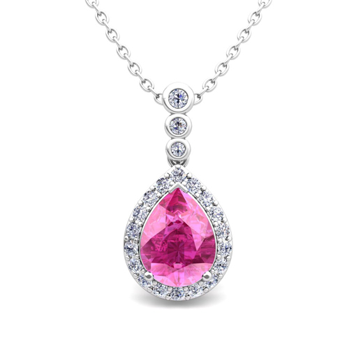 diamond and pear pink sapphire necklace in 14k gold 3