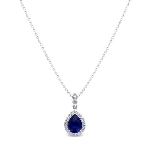 diamond and pear sapphire necklace 14k gold 3 stone