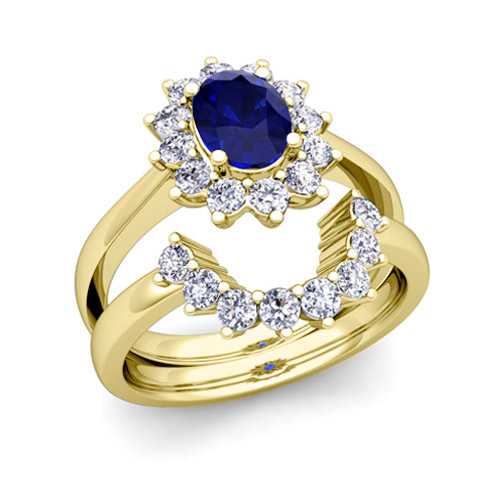 and sapphire diana engagement ring bridal set 14k