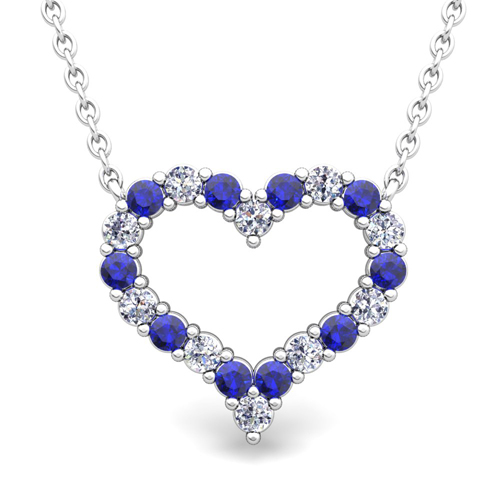 Pave diamond and sapphire heart necklace in 18k gold pendant order now ships on wednesday 314order now ships in 5 business days pave diamond and sapphire heart necklace aloadofball Image collections