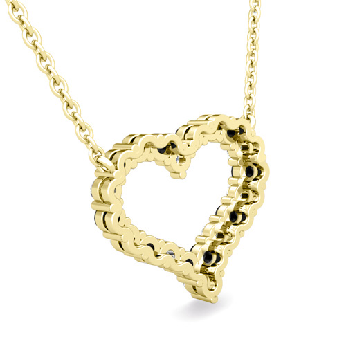 Pave Black and White Diamond Heart Necklace in 18k Gold Pendant