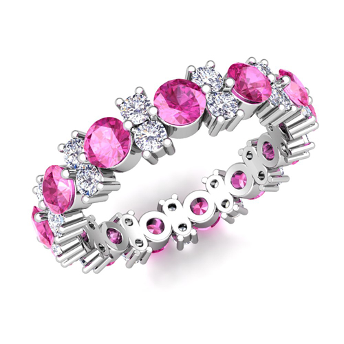 Garland Diamond And Pink Sapphire Eternity Band Ring In