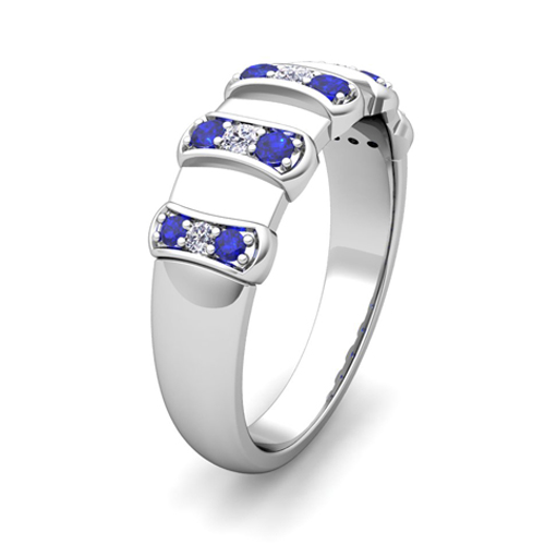 Unique Diamond And Sapphire Mens Wedding Band Ring In 18k Gold