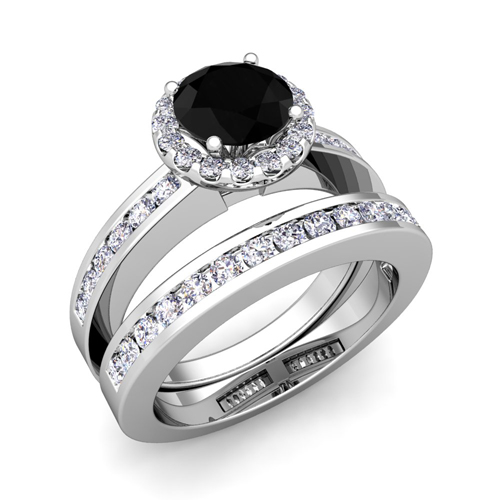 Bridal Set Black Diamond Halo Engagement Wedding Ring Platinum 6mm