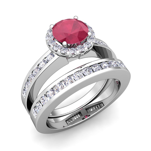 Order Now Ships On Monday 1 22Order In 6 Business Days Halo Bridal Set Diamond And Ruby Engagement Wedding Ring Platinum 5mm