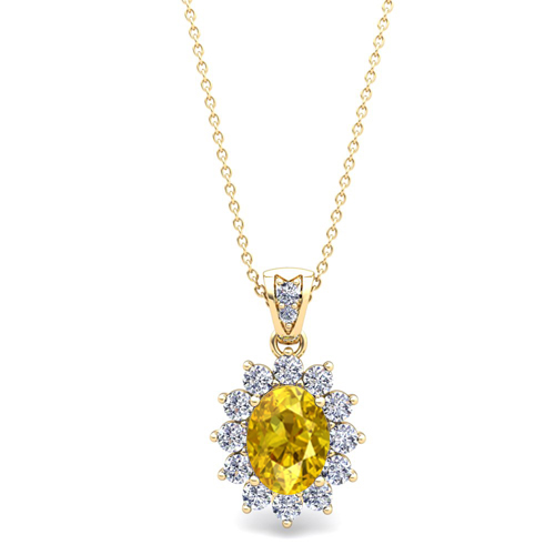 Diamond and yellow sapphire necklace 14k gold halo pendant 8x6mm order now ships on friday 323order now ships in 5 business days diamond and yellow sapphire aloadofball Image collections