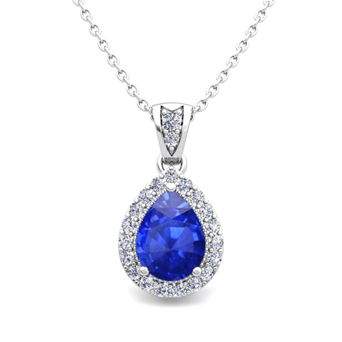Halo Diamond And Pear Ceylon Sapphire Necklace 14k Gold Drop Pendant