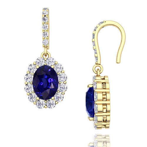 Halo Diamond and Sapphire Drop Earrings in 14k Gold 7x5mm