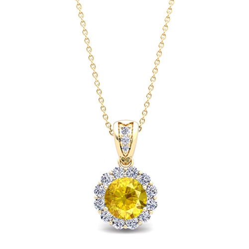 Diamond and yellow sapphire pendant in 18k gold halo necklace 6mm order now ships on tuesday 313order now ships in 5 business days diamond and yellow sapphire aloadofball Image collections