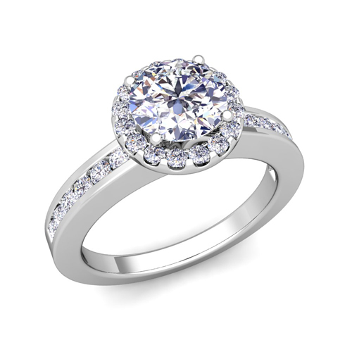 Halo Diamond Engagement Ring In Platinum Channel Set Ring 5mm