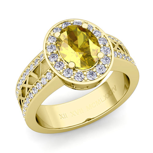 yellow sapphire engagement ring in 14k gold numeral