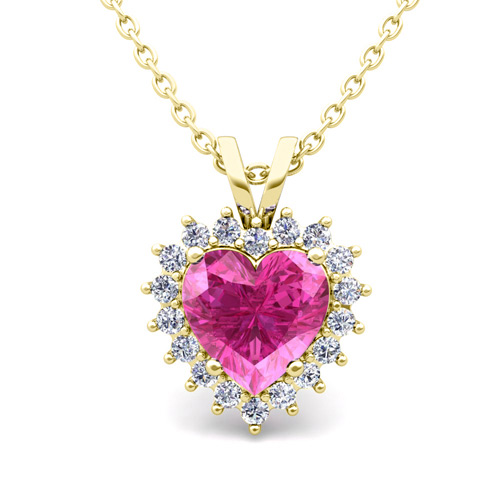 heart pink sapphire and diamond necklace in 14k gold pendant