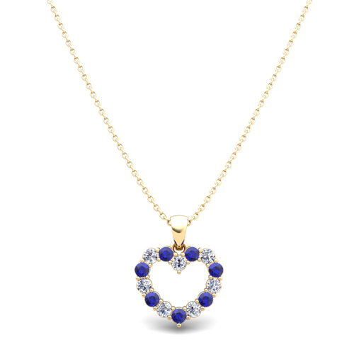 Heart diamond and sapphire necklace in 14k gold pendant diamond and sapphire heart necklace aloadofball Image collections