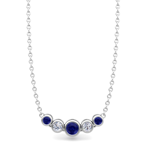 Bezel Set Diamond And Sapphire Necklace In 14k Gold Bubble
