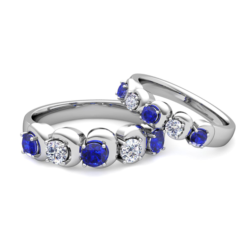 his-and-hers-matching-wedding-band-in-14k-gold-5-stone-diamond-and ...