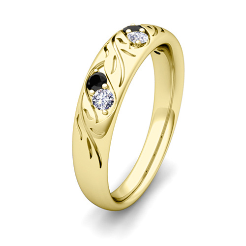 his and hers matching wedding band in 14k gold black