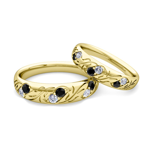 His and Hers Matching Wedding Band in 14k Gold Black Diamond