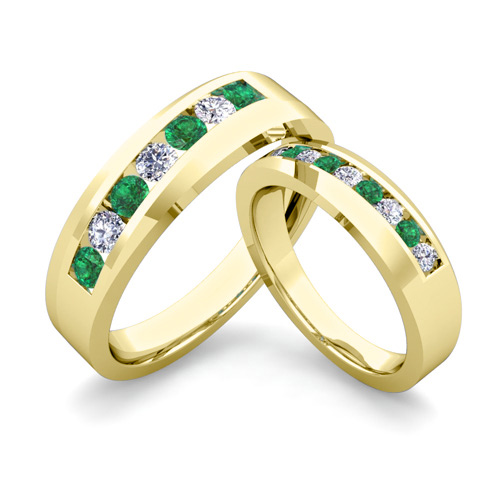 His And Her Matching Wedding Band 14k Gold Channel Set Emerald Ring