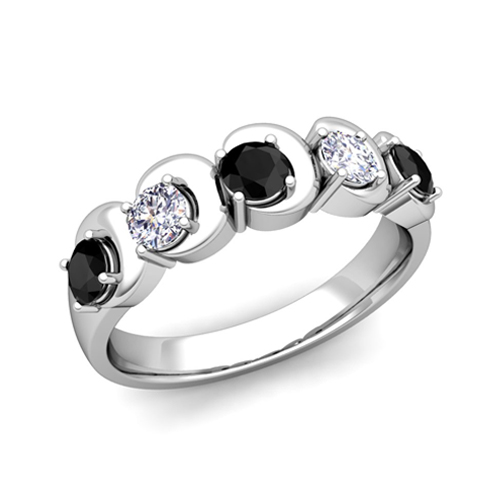 His and Hers Matching Wedding Band in 18k Gold 5 Stone Black Diamond
