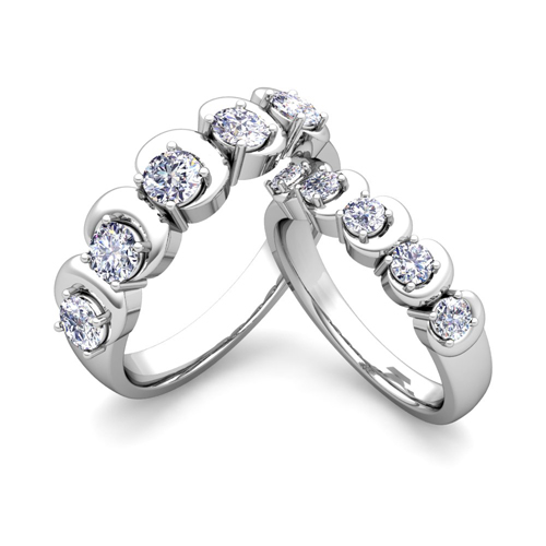 His And Hers Matching Wedding Band In 18k Gold 5 Stone Diamond Ring