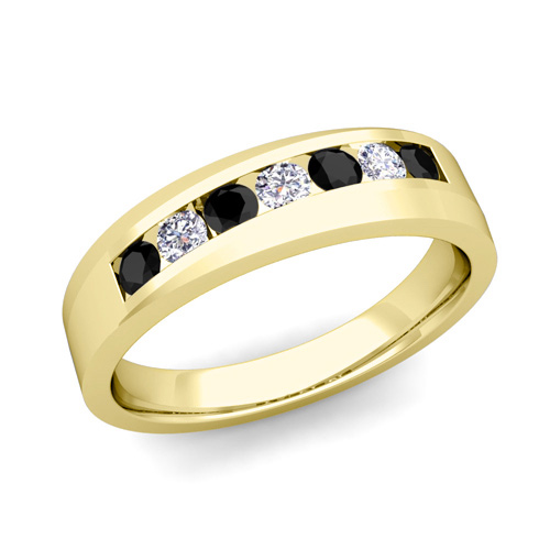 His and Hers Matching Wedding Band 18k Gold Black Diamond Ring