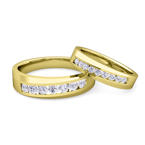 His And Her Matching Wedding Band 18k Gold Channel Set Diamond Ring