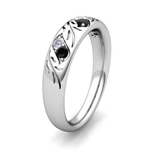 His and Hers Matching Wedding Band in Platinum Black Diamond