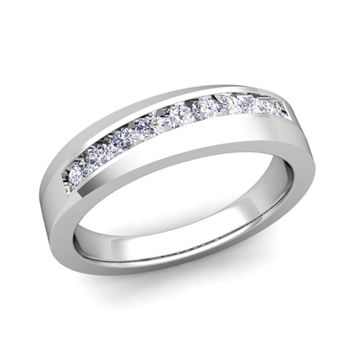 His And Her Matching Wedding Band Platinum Channel Set Diamond Ring