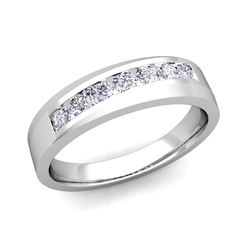 his and matching wedding band platinum channel set