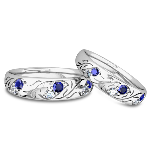 His And Hers Matching Wedding Band In Platinum Diamond And Sapphire