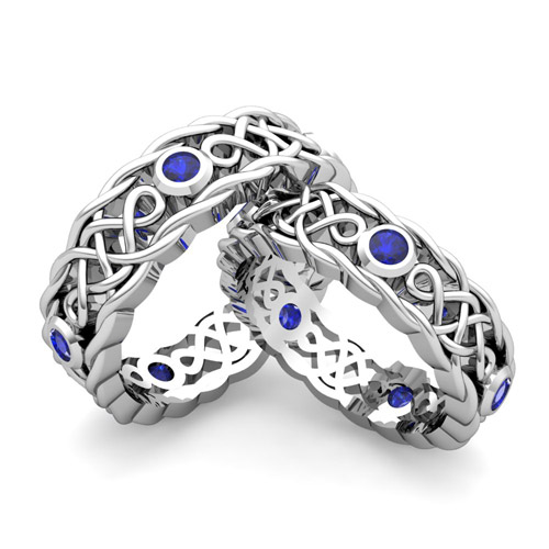 Build Celtic Wedding Ring Band for Him and Her with Diamonds and ...