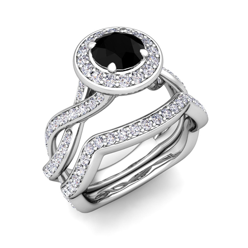 Platinum Bridal Set Infinity Black Diamond Engagement Ring 7mm