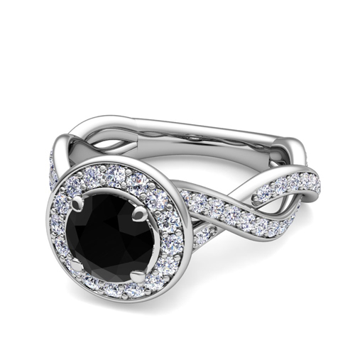 Infinity Black Diamond Halo Engagement Ring 18k Gold 5mm Gem