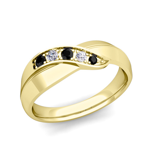 Infinity Black And White Diamond Mens Wedding Band Ring In 14k Gold