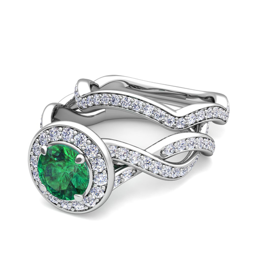 18k Gold Bridal Set Infinity Diamond Emerald Engagement Ring 5mm
