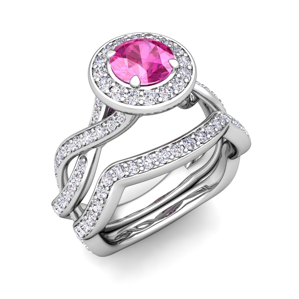 18order Now, Ships In 6 Business Days  Infinity Diamond And Pink Sapphire Engagement Ring Bridal Set