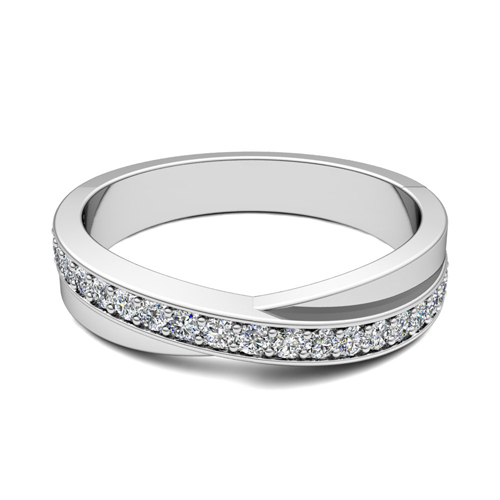Infinity Diamond Anniversary Wedding Ring Band In 18k White Gold