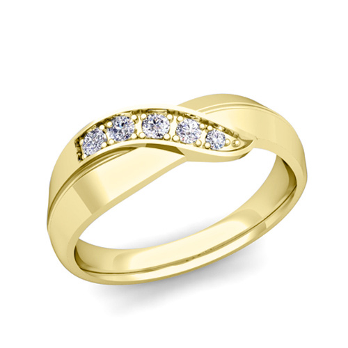 Infinity Diamond Mens Wedding Ring Band In 14k Gold